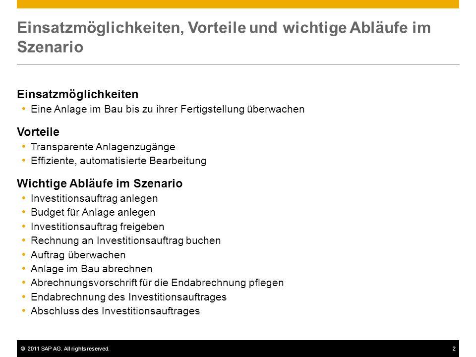 ©2011 SAP AG. All rights reserved.2 Einsatzmöglichkeiten, Vorteile und wichtige Abläufe im Szenario Einsatzmöglichkeiten Eine Anlage im Bau bis zu ihr