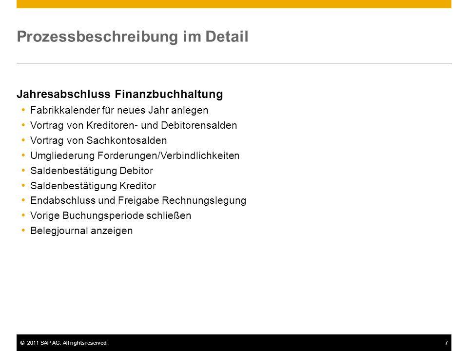 ©2011 SAP AG. All rights reserved.7 Prozessbeschreibung im Detail Jahresabschluss Finanzbuchhaltung Fabrikkalender für neues Jahr anlegen Vortrag von