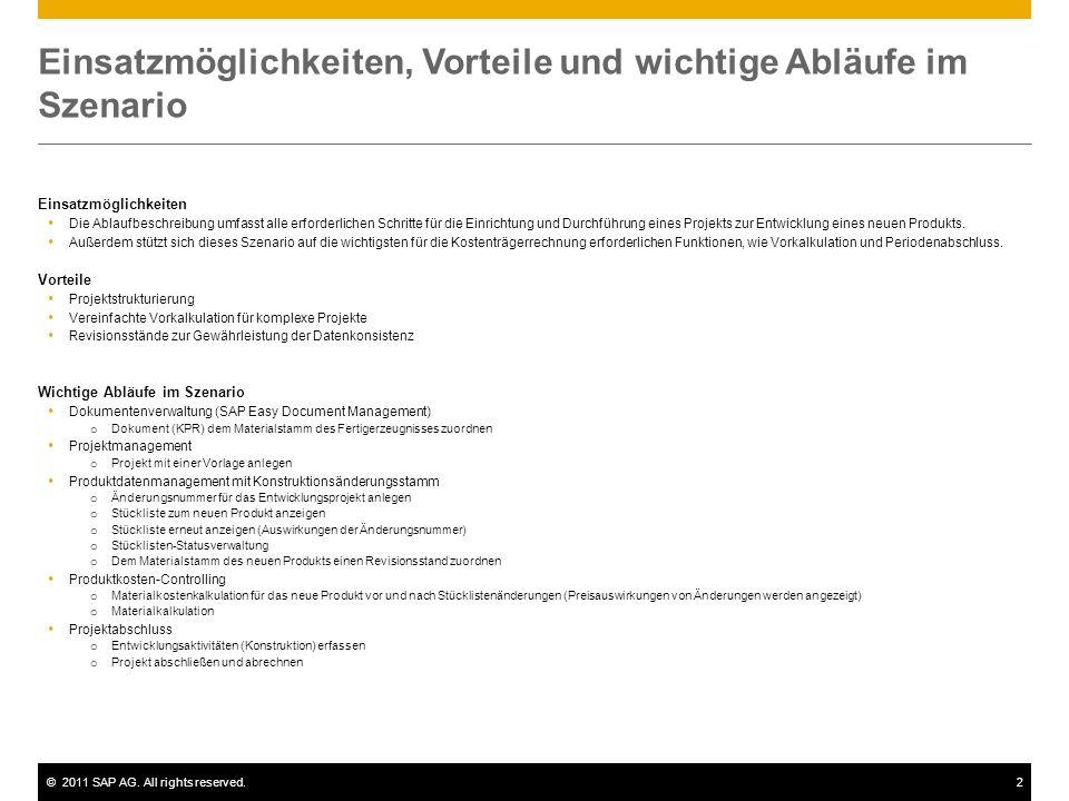 ©2011 SAP AG. All rights reserved.2 Einsatzmöglichkeiten, Vorteile und wichtige Abläufe im Szenario Einsatzmöglichkeiten Die Ablaufbeschreibung umfass