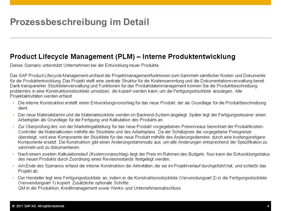 ©2011 SAP AG. All rights reserved.4 Prozessbeschreibung im Detail Product Lifecycle Management (PLM) – Interne Produktentwicklung Dieses Szenario unte