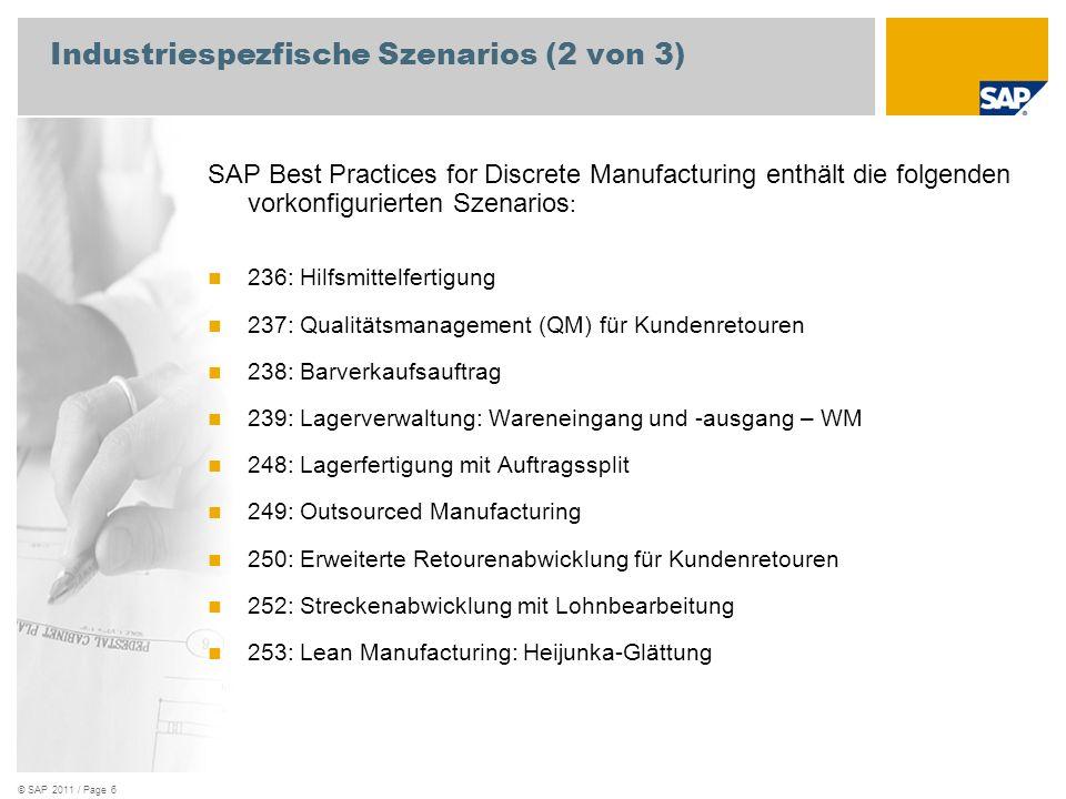 © SAP 2011 / Page 7 Industriespezfische Szenarios (3 von 3) SAP Best Practices for Discrete Manufacturing enthält die folgenden vorkonfigurierten Szenarios : 245: Online-Split für Discrete Manufacturing 274: Instandhaltungs- und Garantieabwicklung 275: Einfache Reparatur im Werk