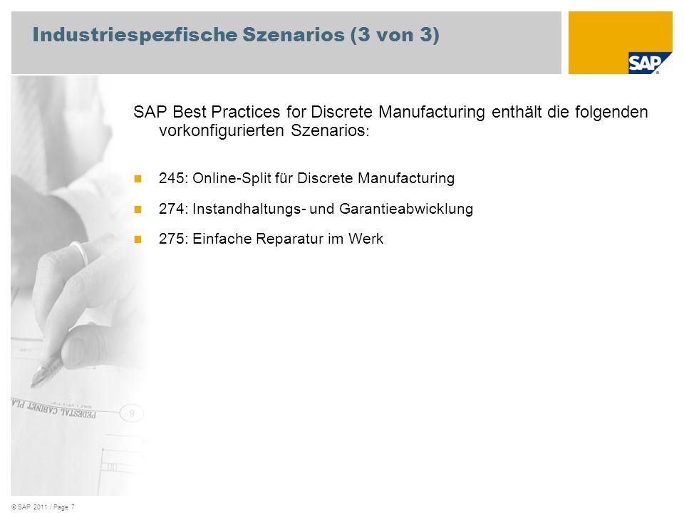 © SAP 2011 / Page 7 Industriespezfische Szenarios (3 von 3) SAP Best Practices for Discrete Manufacturing enthält die folgenden vorkonfigurierten Szen