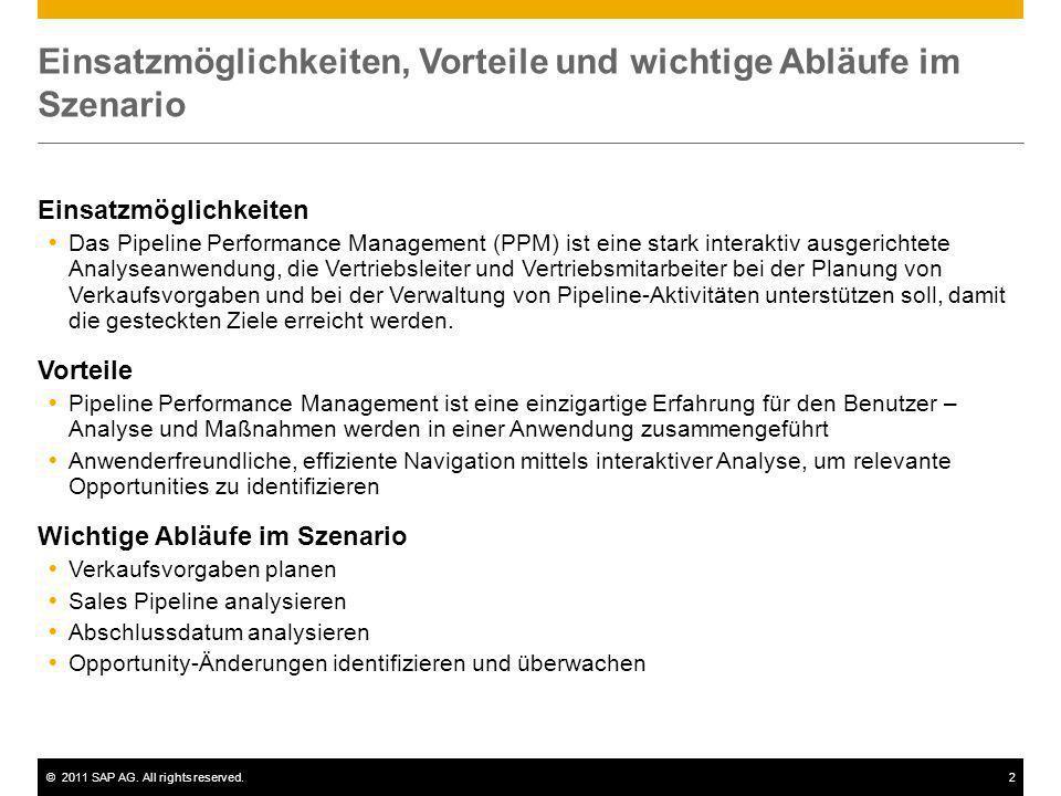 ©2011 SAP AG. All rights reserved.2 Einsatzmöglichkeiten, Vorteile und wichtige Abläufe im Szenario Einsatzmöglichkeiten Das Pipeline Performance Mana