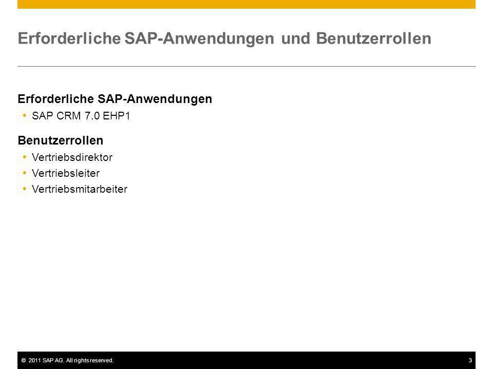 ©2011 SAP AG. All rights reserved.3 Erforderliche SAP-Anwendungen und Benutzerrollen Erforderliche SAP-Anwendungen SAP CRM 7.0 EHP1 Benutzerrollen Ver