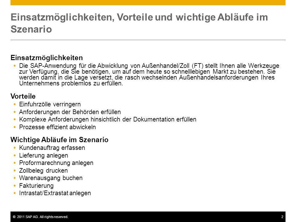 ©2011 SAP AG. All rights reserved.2 Einsatzmöglichkeiten, Vorteile und wichtige Abläufe im Szenario Einsatzmöglichkeiten Die SAP-Anwendung für die Abw
