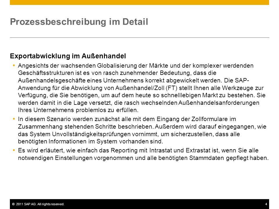 ©2011 SAP AG. All rights reserved.4 Prozessbeschreibung im Detail Exportabwicklung im Außenhandel Angesichts der wachsenden Globalisierung der Märkte