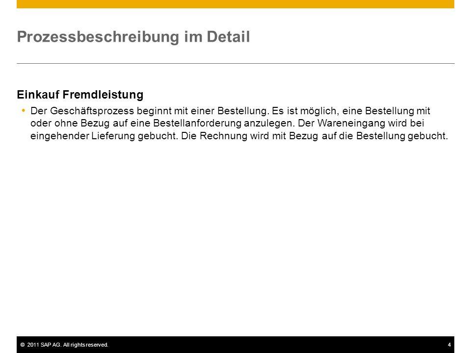 ©2011 SAP AG. All rights reserved.4 Prozessbeschreibung im Detail Einkauf Fremdleistung Der Geschäftsprozess beginnt mit einer Bestellung. Es ist mögl