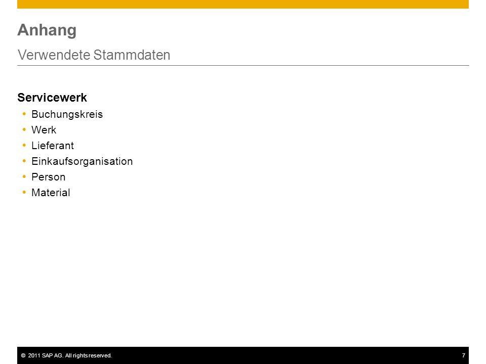 ©2011 SAP AG. All rights reserved.7 Anhang Verwendete Stammdaten Servicewerk Buchungskreis Werk Lieferant Einkaufsorganisation Person Material