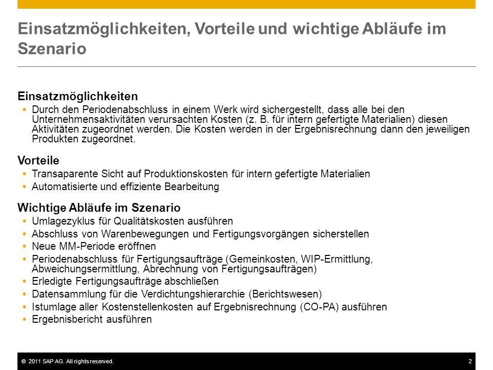 ©2011 SAP AG. All rights reserved.2 Einsatzmöglichkeiten, Vorteile und wichtige Abläufe im Szenario Einsatzmöglichkeiten Durch den Periodenabschluss i