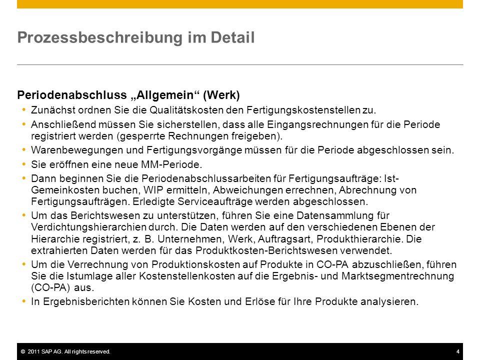 ©2011 SAP AG. All rights reserved.4 Prozessbeschreibung im Detail Periodenabschluss Allgemein (Werk) Zunächst ordnen Sie die Qualitätskosten den Ferti