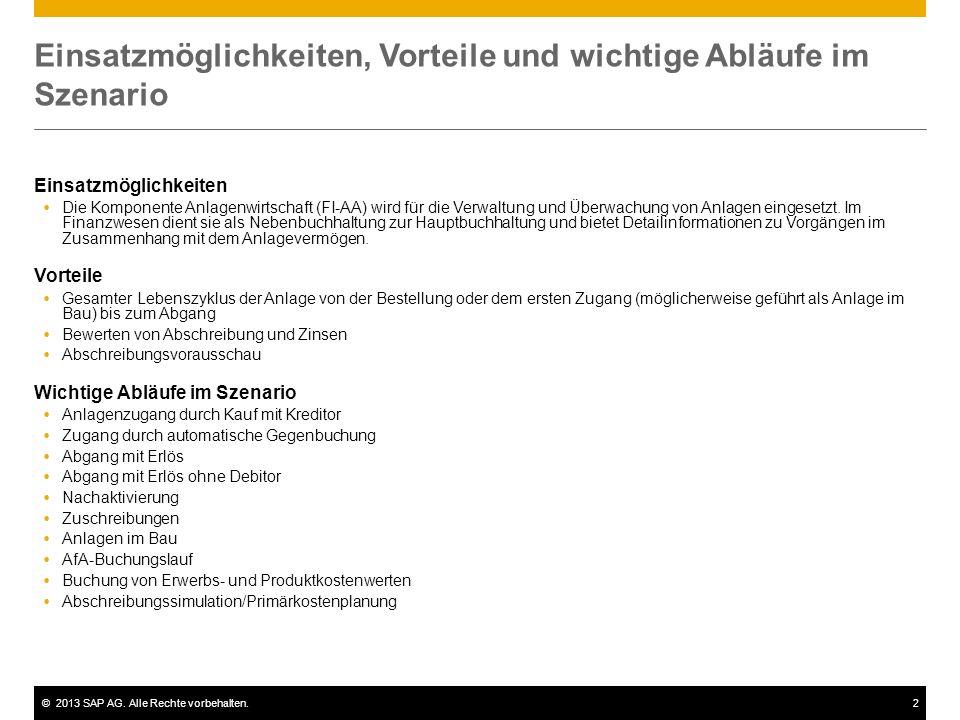 ©2013 SAP AG. Alle Rechte vorbehalten.2 Einsatzmöglichkeiten, Vorteile und wichtige Abläufe im Szenario Einsatzmöglichkeiten Die Komponente Anlagenwir