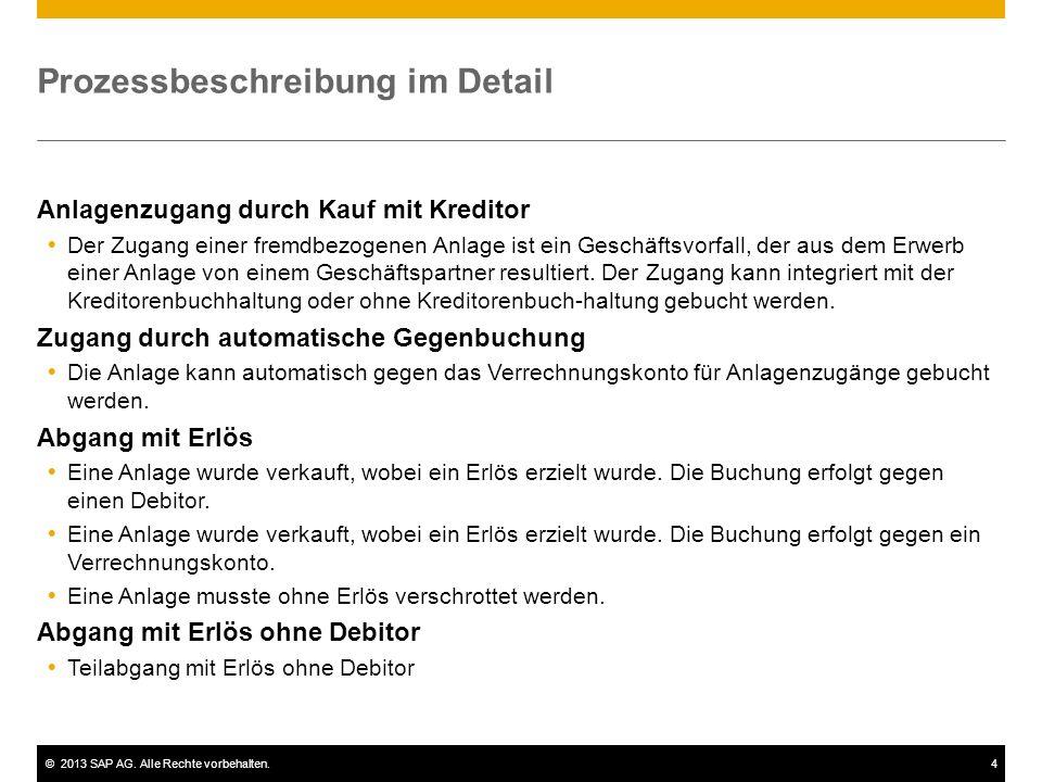 ©2013 SAP AG. Alle Rechte vorbehalten.4 Prozessbeschreibung im Detail Anlagenzugang durch Kauf mit Kreditor Der Zugang einer fremdbezogenen Anlage ist