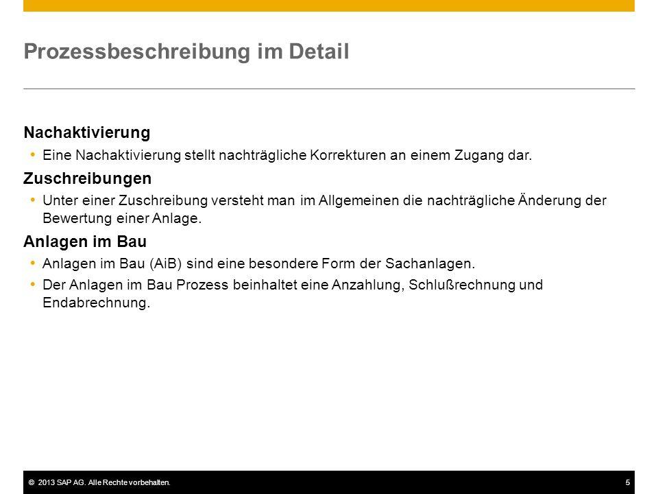 ©2013 SAP AG. Alle Rechte vorbehalten.5 Prozessbeschreibung im Detail Nachaktivierung Eine Nachaktivierung stellt nachträgliche Korrekturen an einem Z