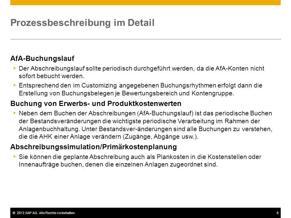 ©2013 SAP AG. Alle Rechte vorbehalten.6 Prozessbeschreibung im Detail AfA-Buchungslauf Der Abschreibungslauf sollte periodisch durchgeführt werden, da