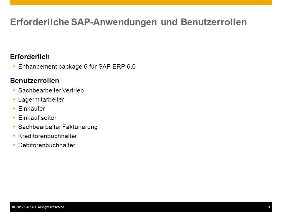 ©2012 SAP AG. All rights reserved.3 Erforderliche SAP-Anwendungen und Benutzerrollen Erforderlich Enhancement package 6 für SAP ERP 6.0 Benutzerrollen