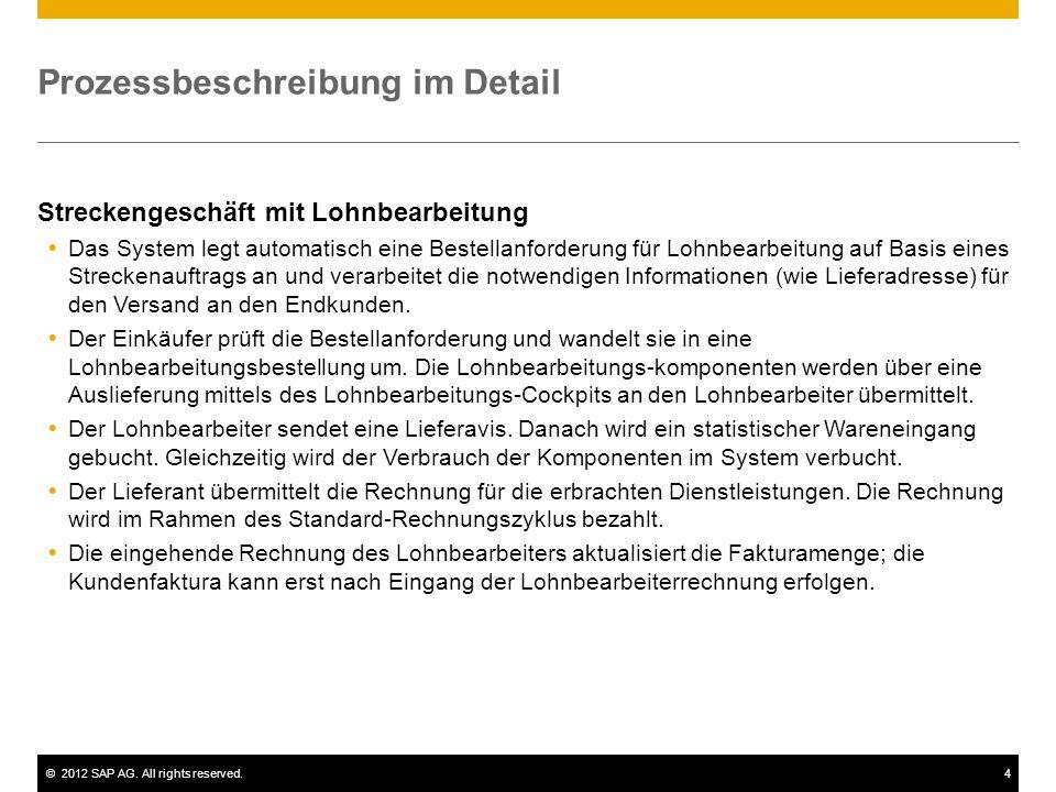 ©2012 SAP AG. All rights reserved.4 Prozessbeschreibung im Detail Streckengeschäft mit Lohnbearbeitung Das System legt automatisch eine Bestellanforde