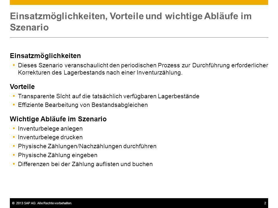 ©2013 SAP AG. Alle Rechte vorbehalten.2 Einsatzmöglichkeiten, Vorteile und wichtige Abläufe im Szenario Einsatzmöglichkeiten Dieses Szenario veranscha