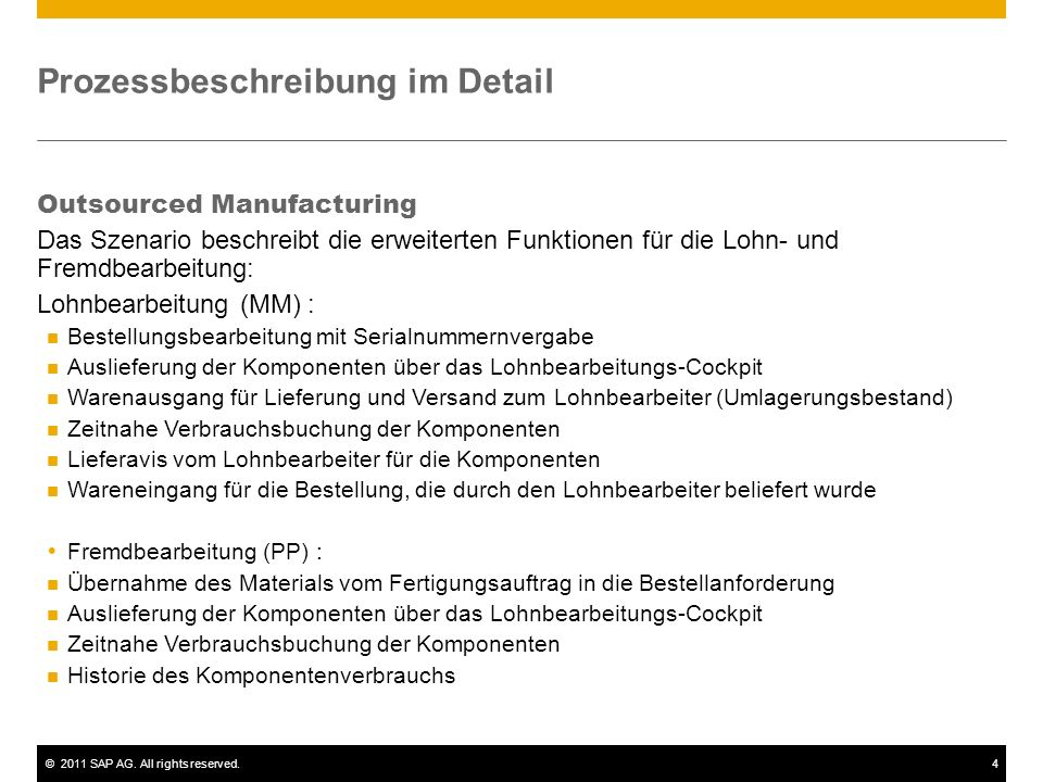 ©2011 SAP AG. All rights reserved.4 Prozessbeschreibung im Detail Outsourced Manufacturing Das Szenario beschreibt die erweiterten Funktionen für die