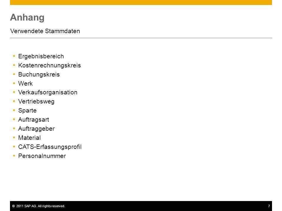 ©2011 SAP AG. All rights reserved.7 Anhang Verwendete Stammdaten Ergebnisbereich Kostenrechnungskreis Buchungskreis Werk Verkaufsorganisation Vertrieb