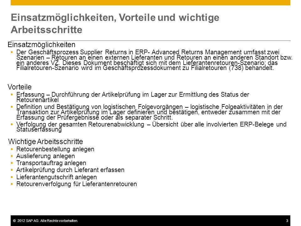 ©2012 SAP AG. Alle Rechte vorbehalten.3 Einsatzmöglichkeiten, Vorteile und wichtige Arbeitsschritte Einsatzmöglichkeiten Der Geschäftsprozess Supplier