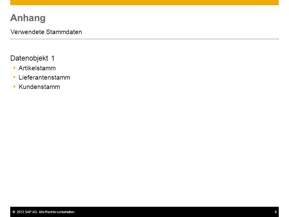 ©2012 SAP AG. Alle Rechte vorbehalten.6 Anhang Verwendete Stammdaten Datenobjekt 1 Artikelstamm Lieferantenstamm Kundenstamm