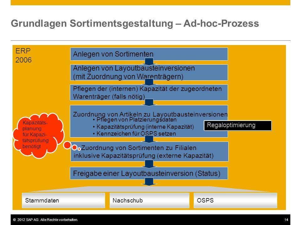 ©2012 SAP AG. Alle Rechte vorbehalten.14 Grundlagen Sortimentsgestaltung – Ad-hoc-Prozess Anlegen von Layoutbausteinversionen (mit Zuordnung von Waren