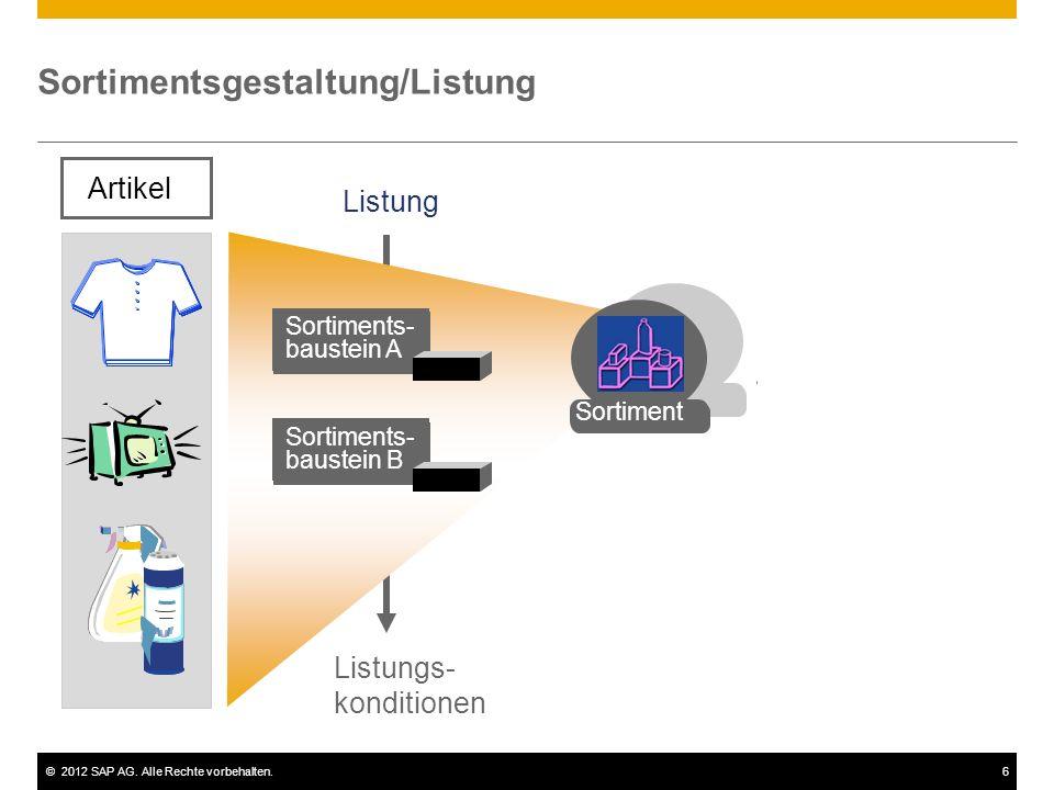 ©2012 SAP AG. Alle Rechte vorbehalten.6 Sortimentsgestaltung/Listung Artikel Sortiments- baustein A Sortiments- baustein B Listung Listungs- kondition