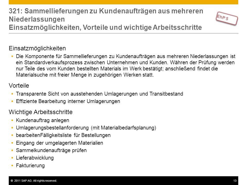 ©2011 SAP AG. All rights reserved.13 321: Sammellieferungen zu Kundenaufträgen aus mehreren Niederlassungen Einsatzmöglichkeiten, Vorteile und wichtig