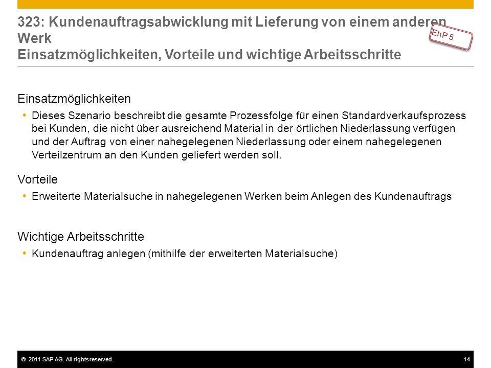 ©2011 SAP AG. All rights reserved.14 323: Kundenauftragsabwicklung mit Lieferung von einem anderen Werk Einsatzmöglichkeiten, Vorteile und wichtige Ar