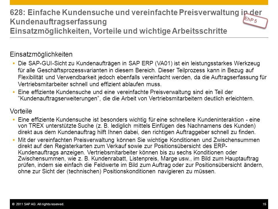 ©2011 SAP AG. All rights reserved.15 628: Einfache Kundensuche und vereinfachte Preisverwaltung in der Kundenauftragserfassung Einsatzmöglichkeiten, V