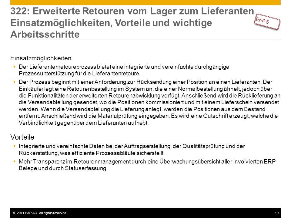 ©2011 SAP AG. All rights reserved.19 322: Erweiterte Retouren vom Lager zum Lieferanten Einsatzmöglichkeiten, Vorteile und wichtige Arbeitsschritte Ei