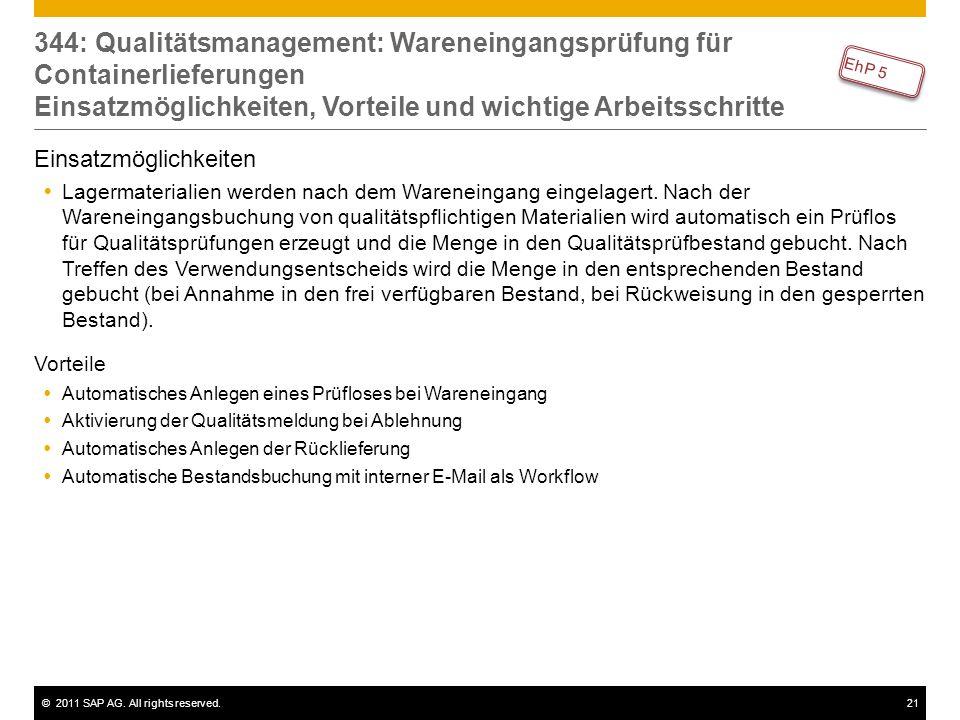 ©2011 SAP AG. All rights reserved.21 344: Qualitätsmanagement: Wareneingangsprüfung für Containerlieferungen Einsatzmöglichkeiten, Vorteile und wichti