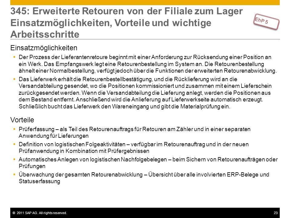 ©2011 SAP AG. All rights reserved.23 345: Erweiterte Retouren von der Filiale zum Lager Einsatzmöglichkeiten, Vorteile und wichtige Arbeitsschritte Ei