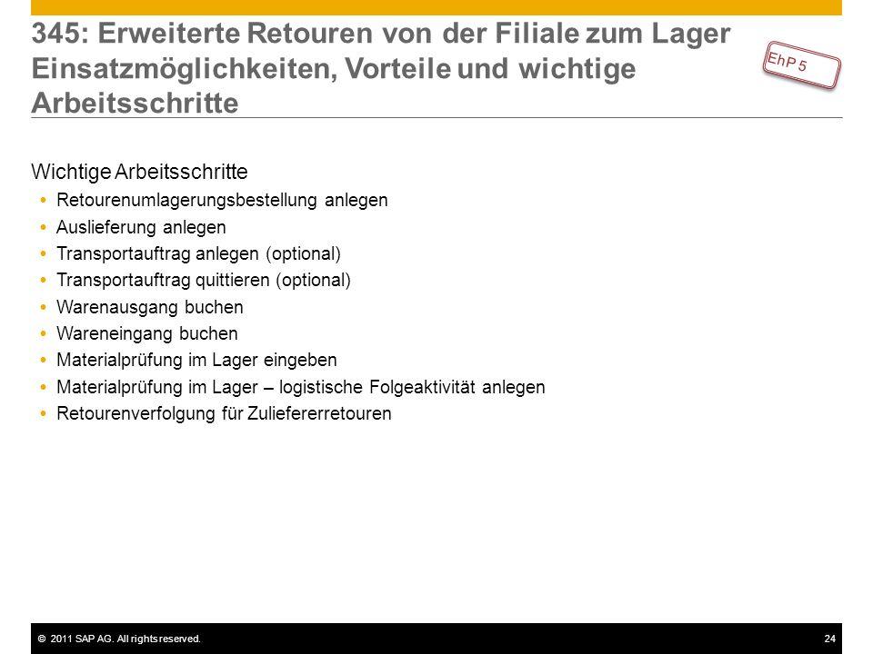 ©2011 SAP AG. All rights reserved.24 345: Erweiterte Retouren von der Filiale zum Lager Einsatzmöglichkeiten, Vorteile und wichtige Arbeitsschritte Wi