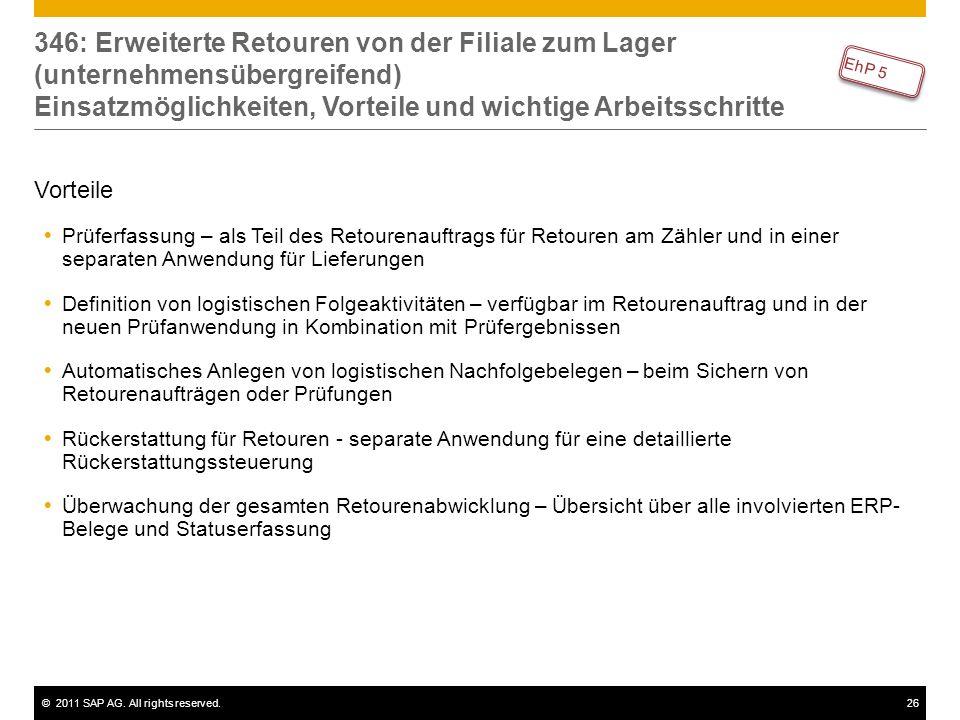 ©2011 SAP AG. All rights reserved.26 346: Erweiterte Retouren von der Filiale zum Lager (unternehmensübergreifend) Einsatzmöglichkeiten, Vorteile und