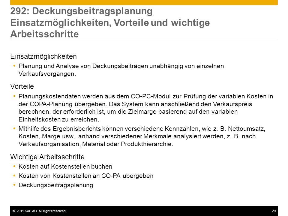 ©2011 SAP AG. All rights reserved.29 292: Deckungsbeitragsplanung Einsatzmöglichkeiten, Vorteile und wichtige Arbeitsschritte Einsatzmöglichkeiten Pla
