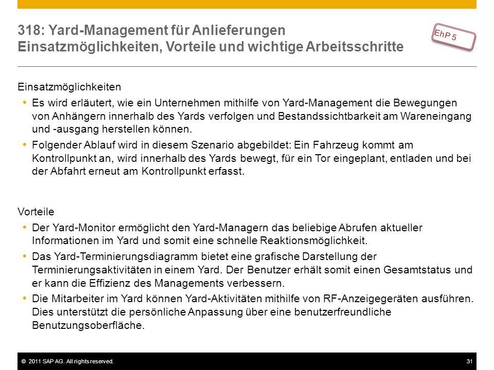 ©2011 SAP AG. All rights reserved.31 318: Yard-Management für Anlieferungen Einsatzmöglichkeiten, Vorteile und wichtige Arbeitsschritte Einsatzmöglich