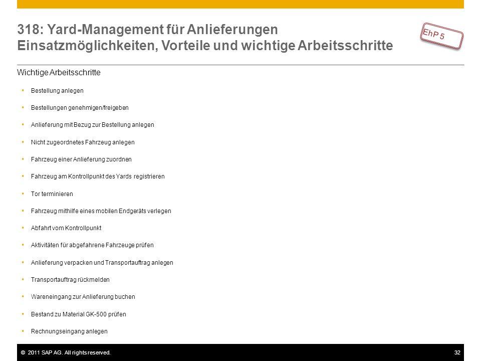 ©2011 SAP AG. All rights reserved.32 318: Yard-Management für Anlieferungen Einsatzmöglichkeiten, Vorteile und wichtige Arbeitsschritte Wichtige Arbei