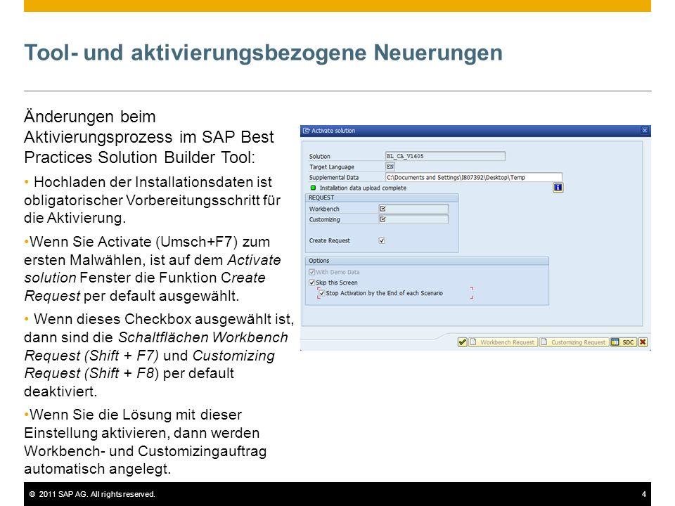 ©2011 SAP AG. All rights reserved.4 Tool- und aktivierungsbezogene Neuerungen Änderungen beim Aktivierungsprozess im SAP Best Practices Solution Build