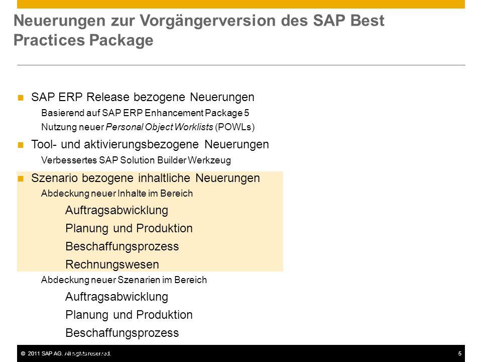 ©2011 SAP AG. All rights reserved.5 SAP ERP Release bezogene Neuerungen Basierend auf SAP ERP Enhancement Package 5 Nutzung neuer Personal Object Work