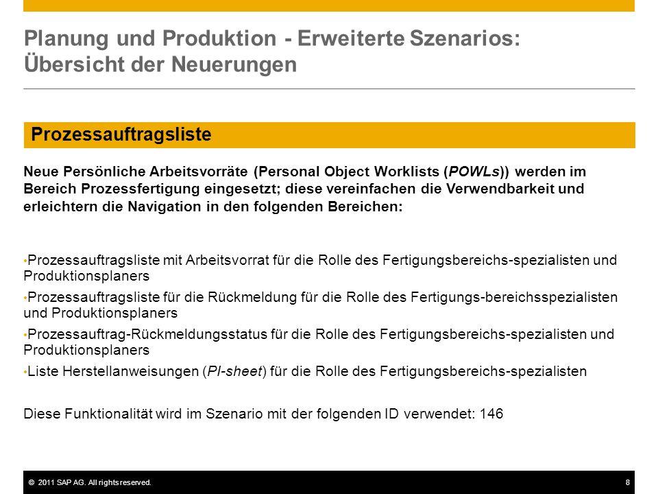 ©2011 SAP AG. All rights reserved.8 Prozessauftragsliste Planung und Produktion - Erweiterte Szenarios: Übersicht der Neuerungen Neue Persönliche Arbe