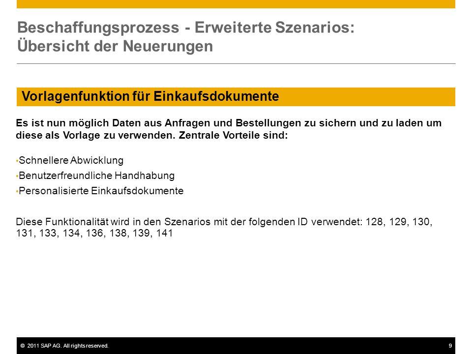 ©2011 SAP AG. All rights reserved.9 Vorlagenfunktion für Einkaufsdokumente Beschaffungsprozess - Erweiterte Szenarios: Übersicht der Neuerungen Es ist