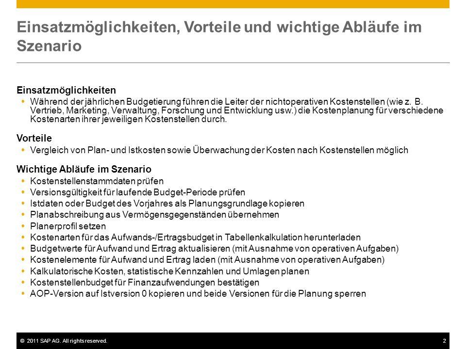 ©2011 SAP AG. All rights reserved.2 Einsatzmöglichkeiten, Vorteile und wichtige Abläufe im Szenario Einsatzmöglichkeiten Während der jährlichen Budget