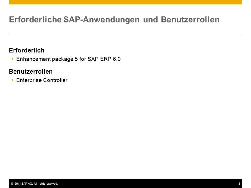 ©2011 SAP AG. All rights reserved.3 Erforderliche SAP-Anwendungen und Benutzerrollen Erforderlich Enhancement package 5 for SAP ERP 6.0 Benutzerrollen
