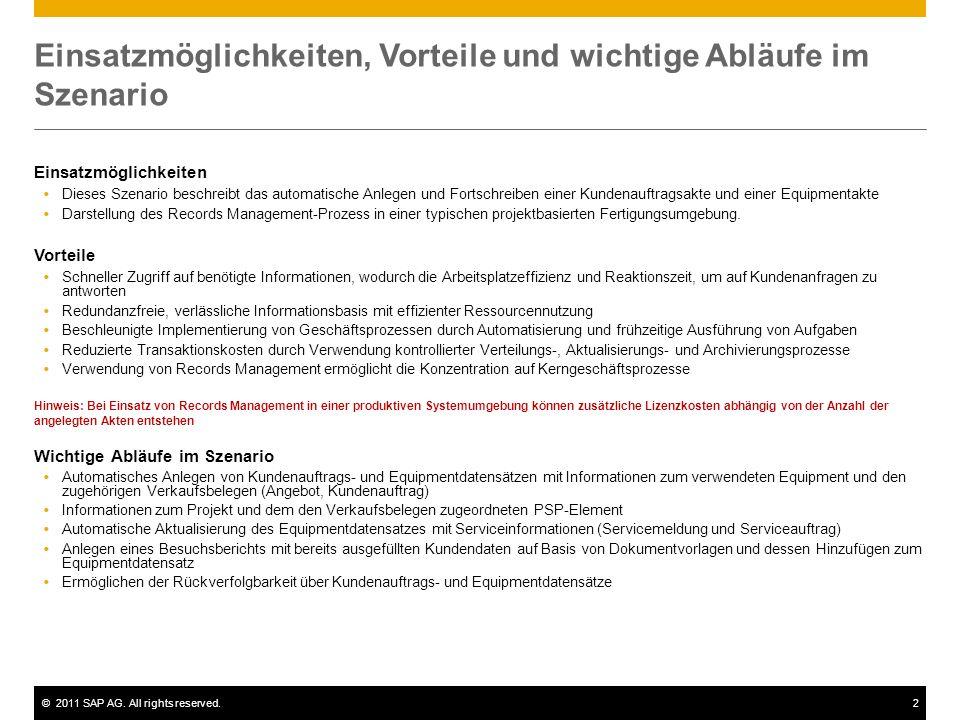 ©2011 SAP AG. All rights reserved.2 Einsatzmöglichkeiten, Vorteile und wichtige Abläufe im Szenario Einsatzmöglichkeiten Dieses Szenario beschreibt da