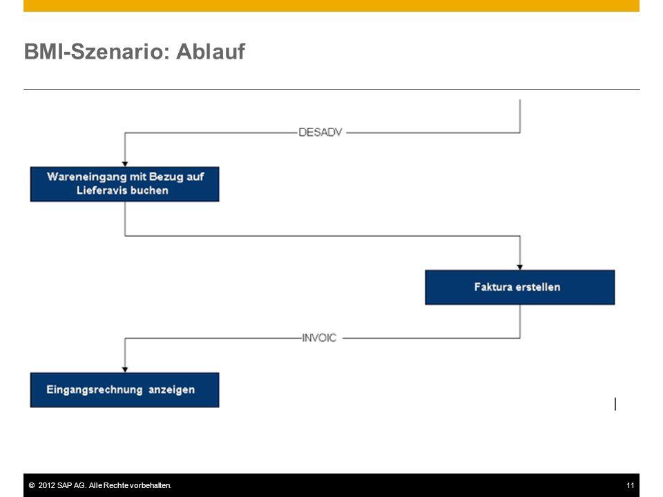 ©2012 SAP AG. Alle Rechte vorbehalten.11 BMI-Szenario: Ablauf