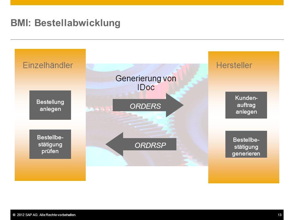 ©2012 SAP AG. Alle Rechte vorbehalten.13 BMI: Bestellabwicklung Bestellung anlegen Bestellbe- stätigung prüfen Einzelhändler Generierung von IDoc ORDR