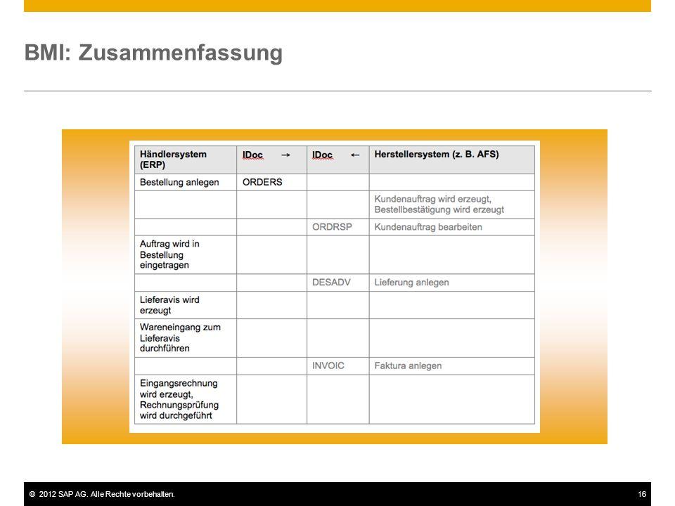 ©2012 SAP AG. Alle Rechte vorbehalten.16 BMI: Zusammenfassung
