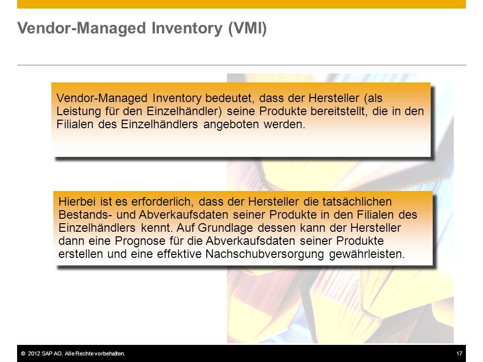 ©2012 SAP AG. Alle Rechte vorbehalten.17 Vendor-Managed Inventory (VMI) Vendor-Managed Inventory bedeutet, dass der Hersteller (als Leistung für den E