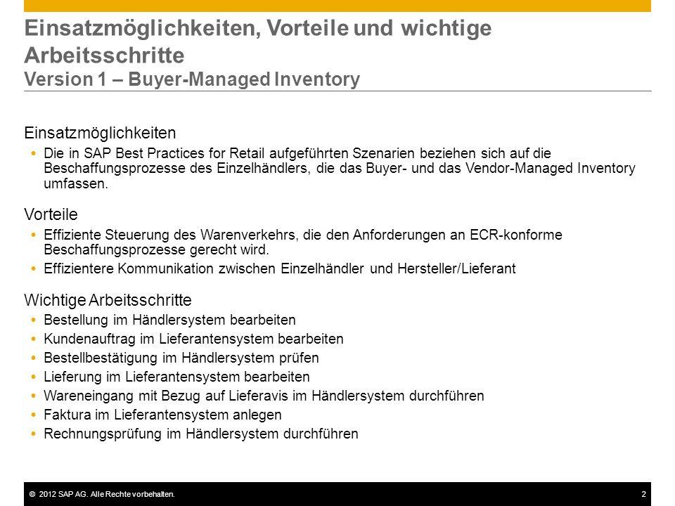 ©2012 SAP AG. Alle Rechte vorbehalten.2 Einsatzmöglichkeiten, Vorteile und wichtige Arbeitsschritte Version 1 – Buyer-Managed Inventory Einsatzmöglich